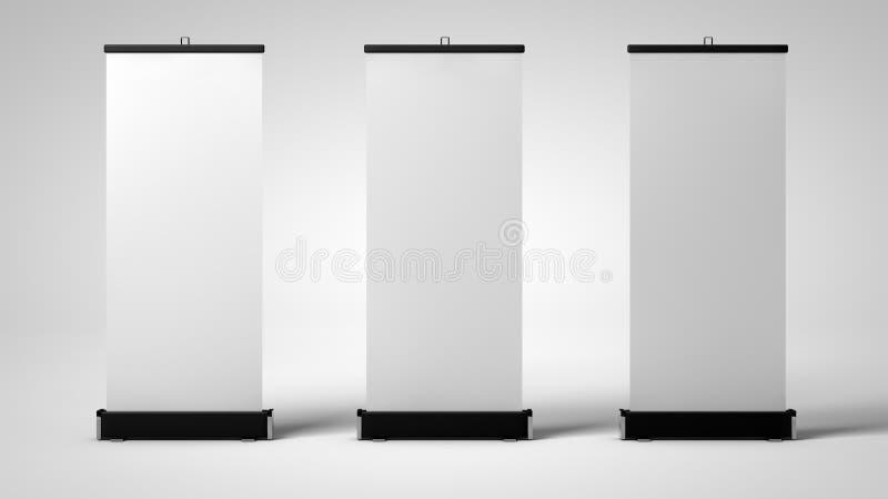 Drie lege rollupmodellen voor het brandmerken stock illustratie