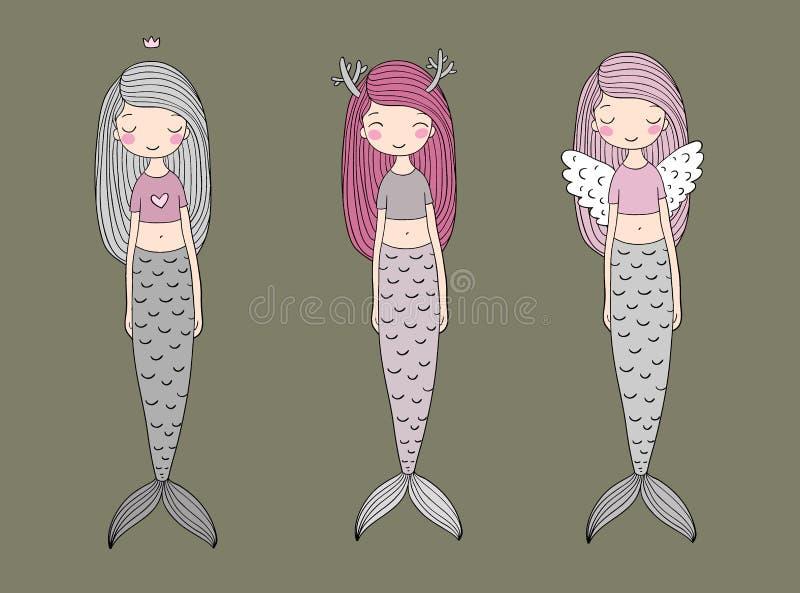 Drie leuke beeldverhaalmeerminnen Sirene Overzees Thema vector illustratie