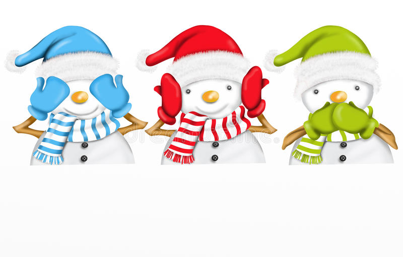 Drie leuke sneeuwmannen vector illustratie