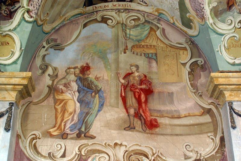 Drie Magi vóór Herod stock fotografie