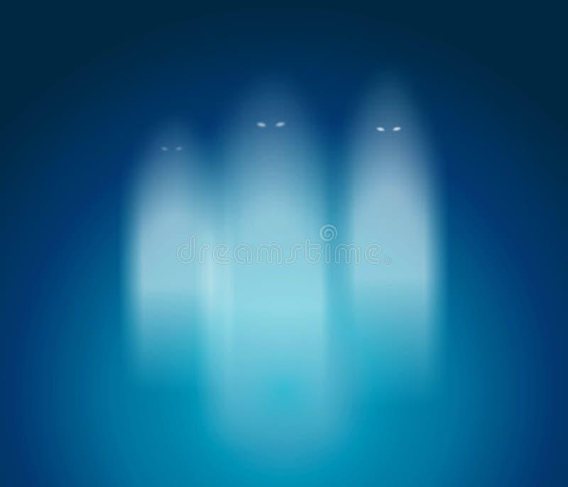 Drie magische gosts in blauwe ruimte vector illustratie