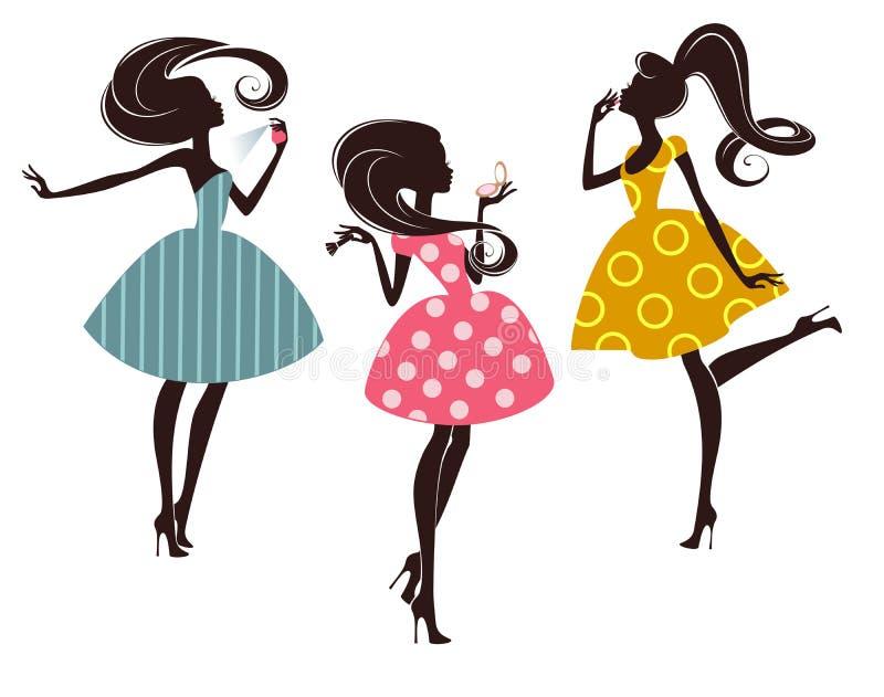 Drie maniermeisjes stock illustratie