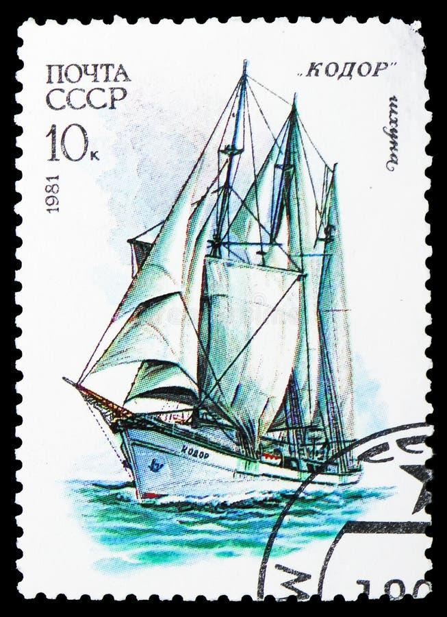 Drie-Masted schoener Kodor, Kadet Varende Vloot van de USSR serie, circa 1981 stock foto