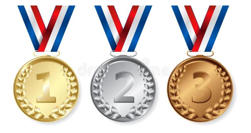 Drie medailles, Goud, Zilver en brons voor de winnaars vector illustratie