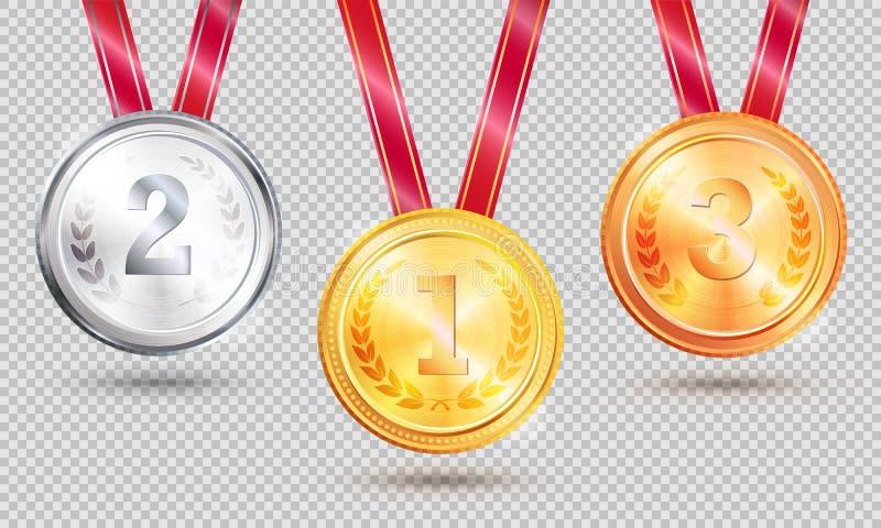 Drie Medailles Vectorillustratie op Transparant vector illustratie