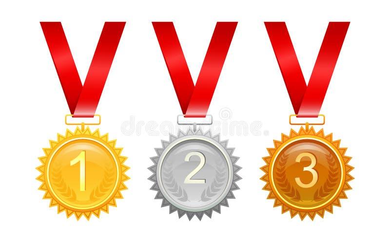 Drie medailles voor toekenning royalty-vrije illustratie
