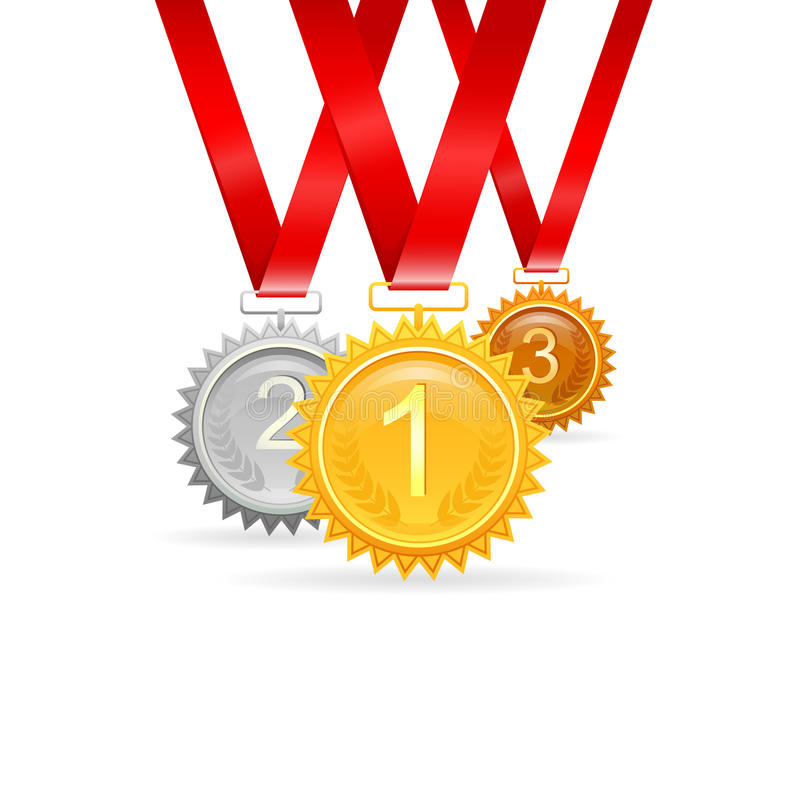 Drie medailles voor toekenning stock illustratie
