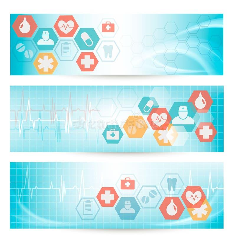 Drie medische banners met pictogrammen. royalty-vrije illustratie