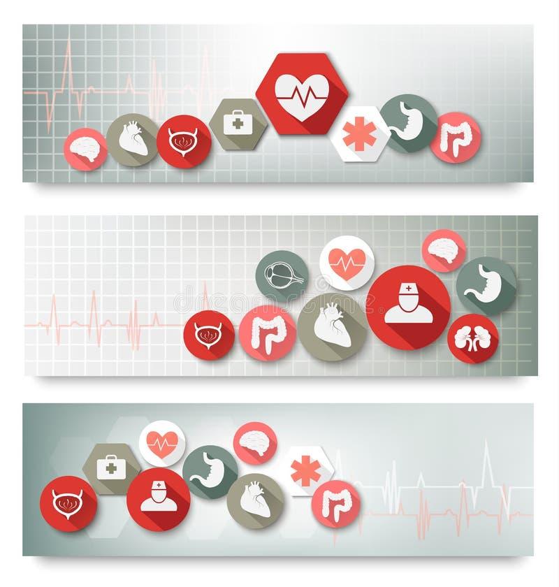 Drie medische banners met pictogrammen. vector illustratie