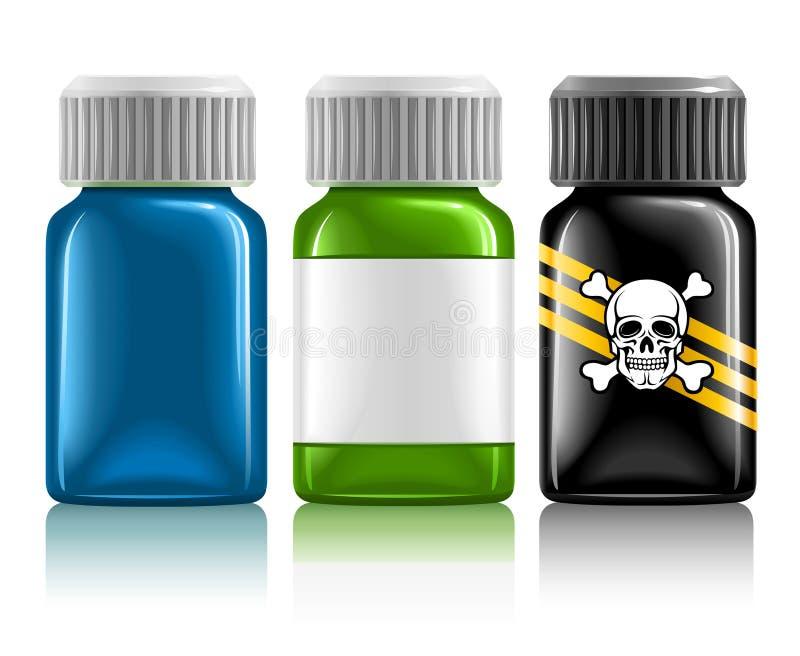 Drie medische flessen met medicijn en vergift royalty-vrije illustratie
