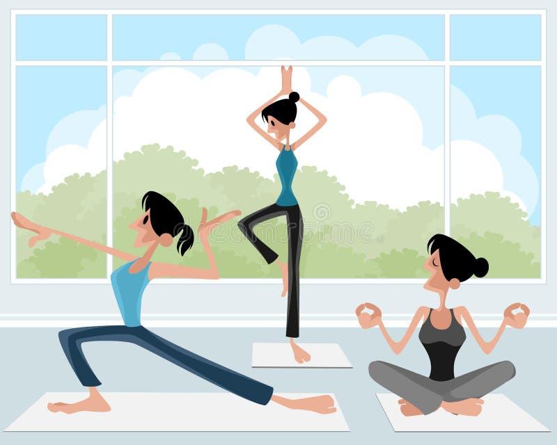 Drie meisje het praktizeren yoga vector illustratie