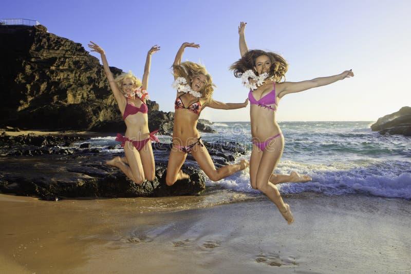 Drie meisjes bij een Hawaï strand stock afbeeldingen