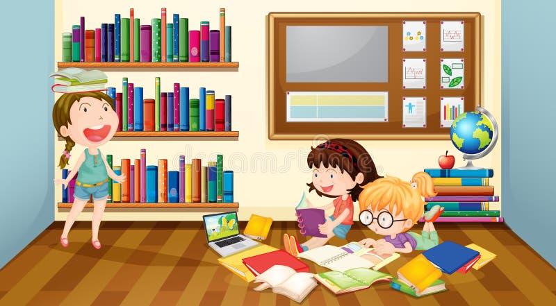 Drie meisjes die boeken in ruimte lezen stock illustratie