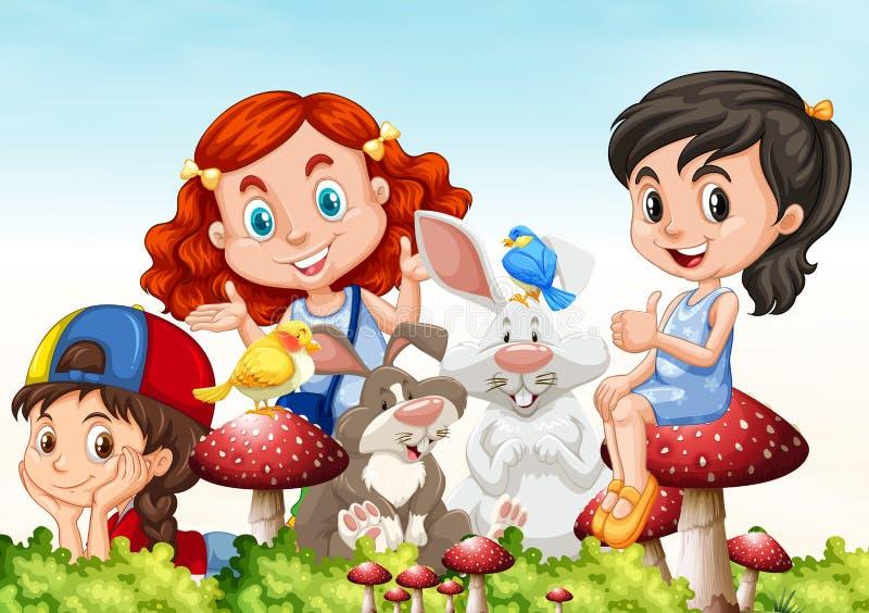 Drie meisjes en konijnen in de tuin vector illustratie