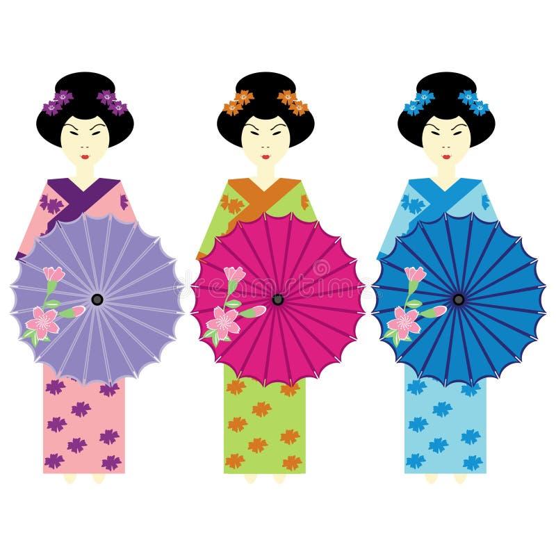 Drie meisjes in Japanner kleden zich vector illustratie