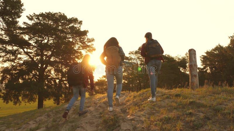 Drie meisjes reizen, lopen door hout om heuvel te beklimmen verheugen zich en opheffen hun handen tot de bovenkant Wandelaarmeisj stock fotografie