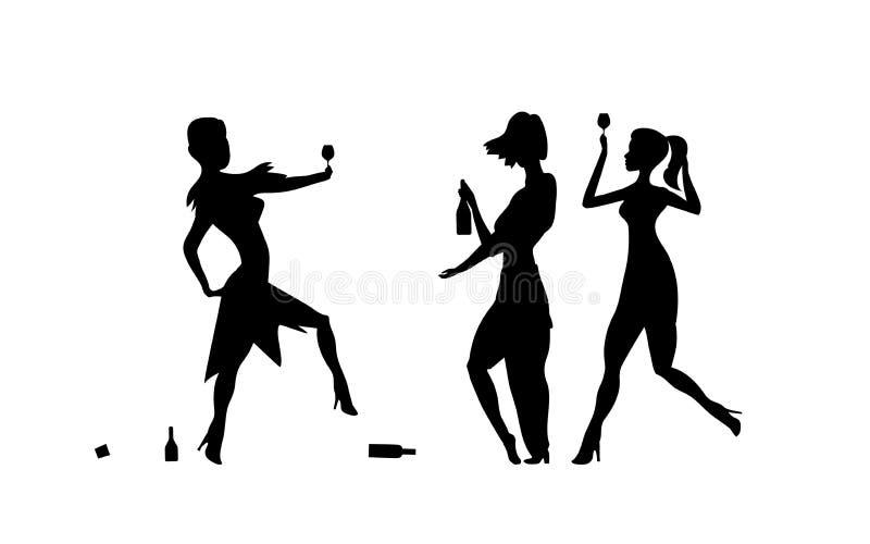 Drie Meisjes, vrouwen Dames het drinken Dronken mensen, gedronken partijgebeurtenis, vectorsilhouetten Vrijgezelvakantie, illustr vector illustratie