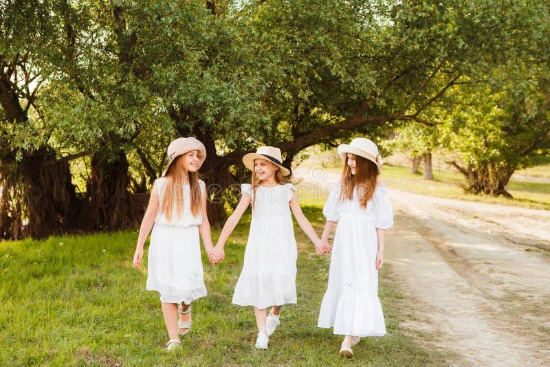 Drie meisjes in witte kledingsgang in aard in de zomer Het tijdverdrijf van kinderen tijdens de de zomervakantie stock afbeelding
