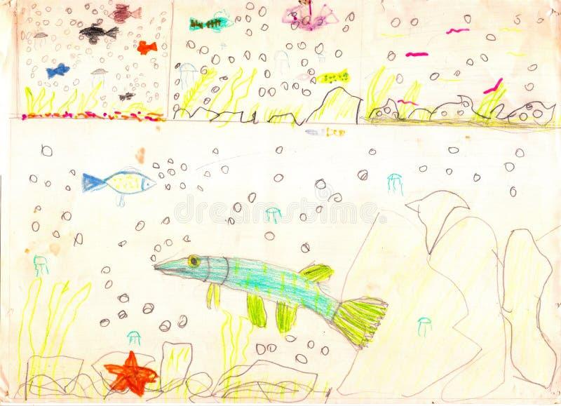 Drie meningen van het onderwaterleven met multicolored vissen, zeester, stenen en bellen Tekening van een vader en een zoon vector illustratie