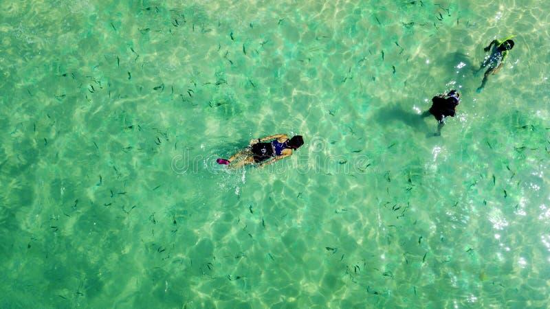 Drie mensen die in het turkooise water snorkelen stock afbeelding