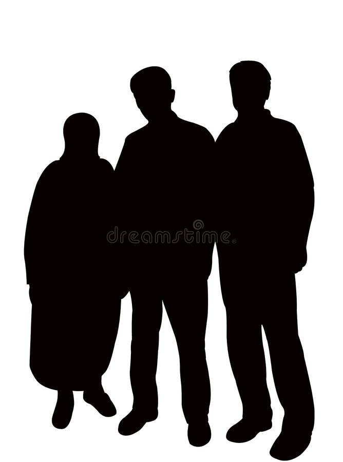 Drie mensen, familieorganismen silhouetvector royalty-vrije illustratie