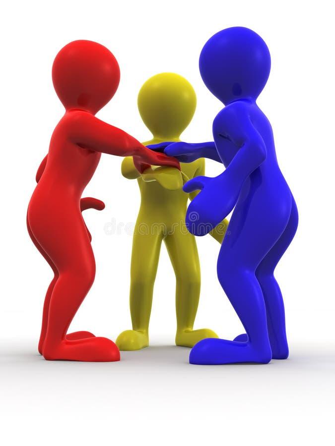 Drie mensen. Groepswerk vector illustratie