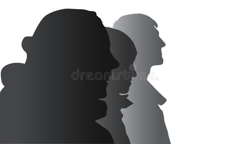 Drie mensenprofielen stock illustratie