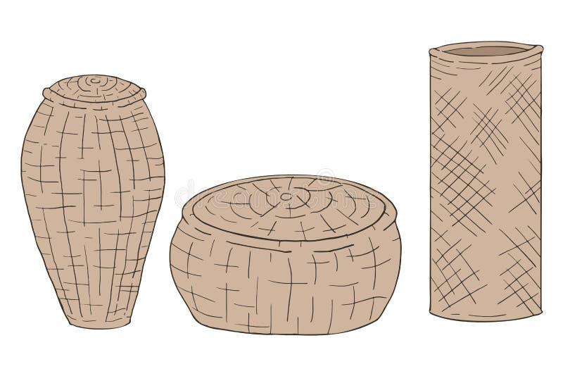 Drie met de hand gemaakte manden stock illustratie