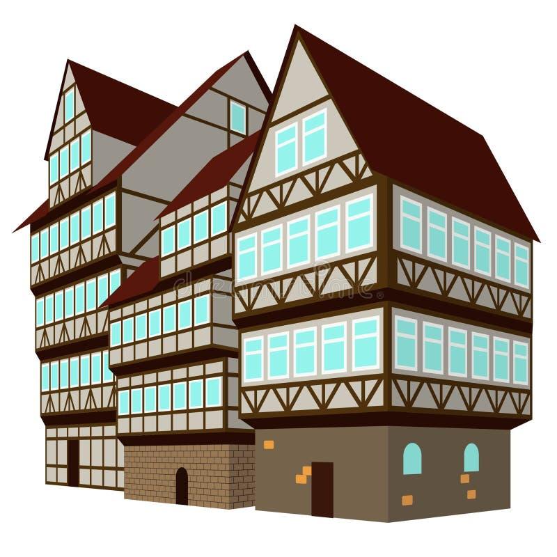 Drie middeleeuwse huizen in oude stad stock illustratie