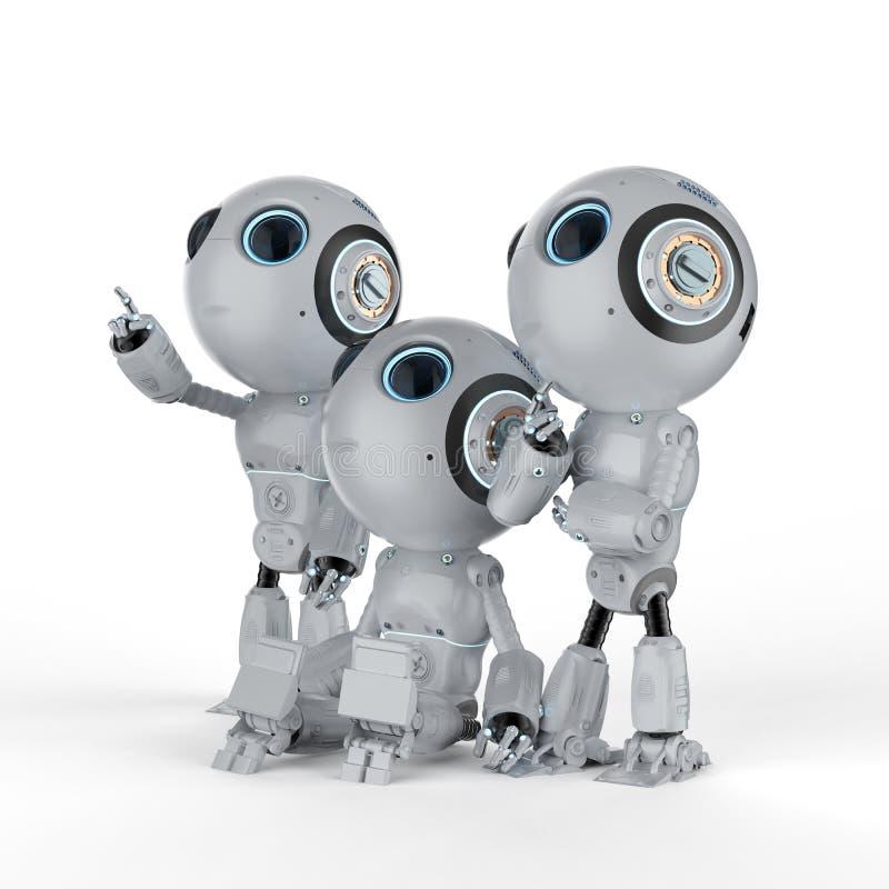 Drie minirobots royalty-vrije illustratie