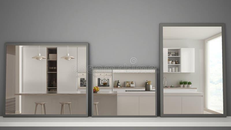 Drie moderne spiegels op plank of bureau die op binnenlandse ontwerpscène, eigentijdse moderne keuken, minimalistische witte arch stock afbeeldingen