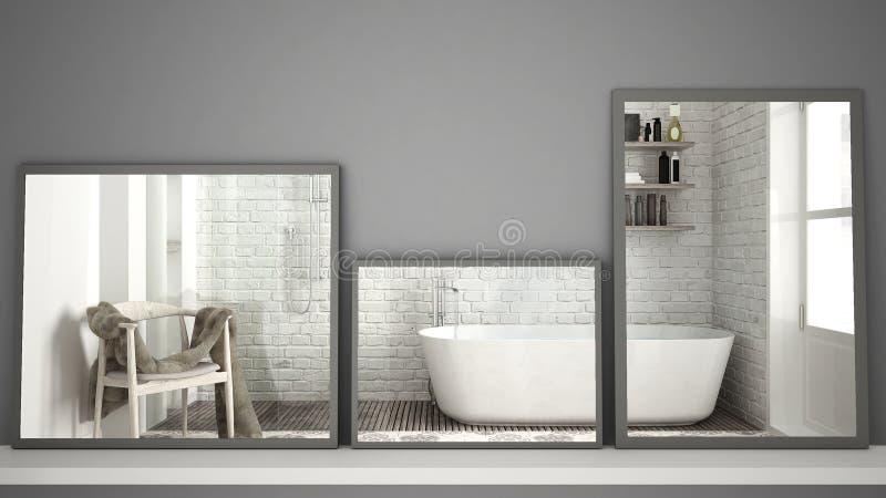 Drie moderne spiegels op plank of bureau die op binnenlandse ontwerpscène, Skandinavische klassieke badkamers, minimalistische wi stock afbeeldingen