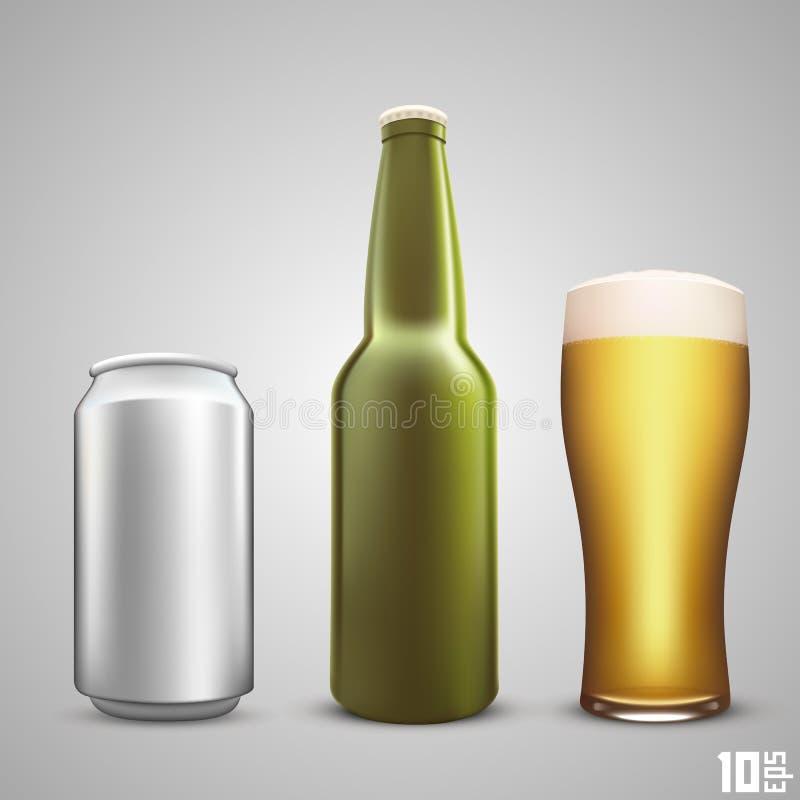 Drie mokken van bierpint op wit vector illustratie