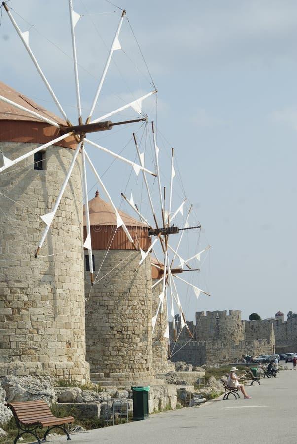 Drie molens in Rhodes Greece stock fotografie
