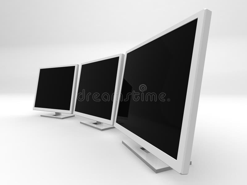 Drie monitors 2 royalty-vrije illustratie