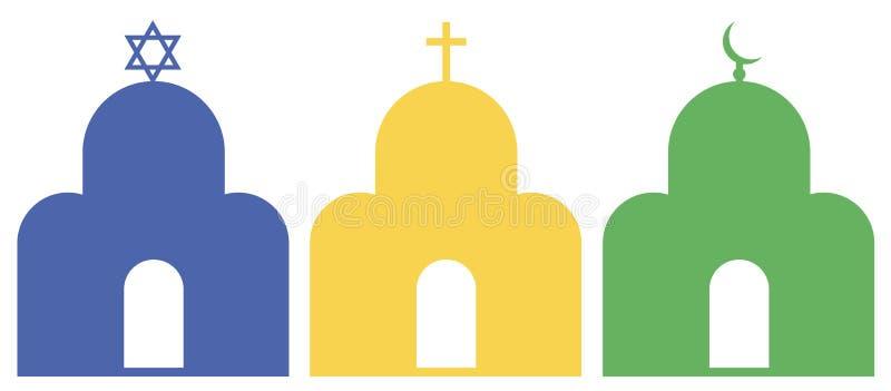 Drie monotheïstische godsdiensten stock illustratie