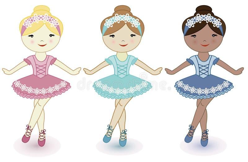 Drie mooie mooie meisjes van ballerina's stock illustratie