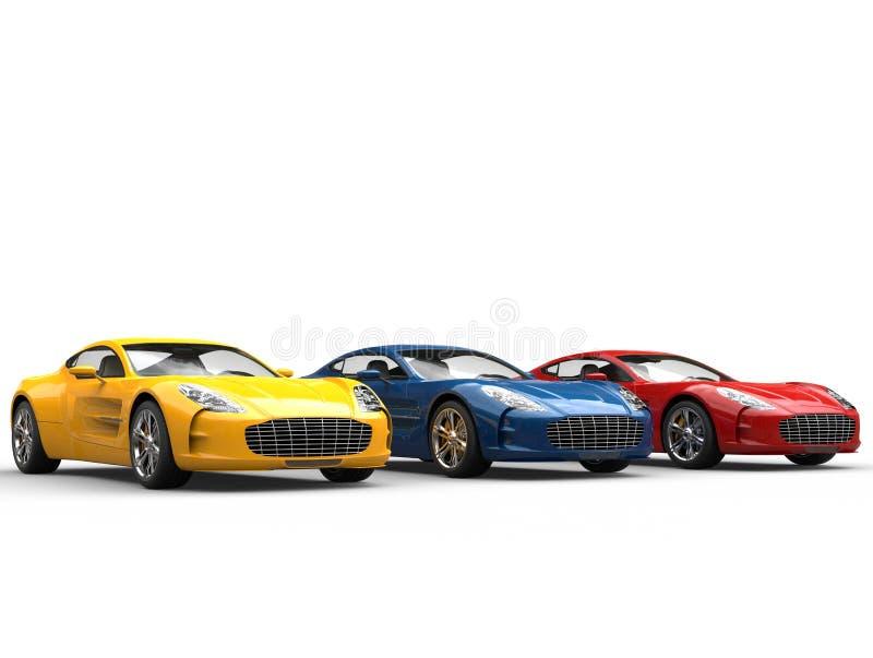 Drie mooie sportwagens - studioschot royalty-vrije stock fotografie