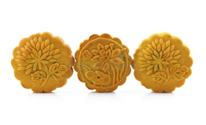 Drie mooncakes stock afbeelding