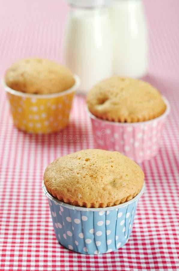 Drie muffins in kleurrijke muffin stock foto's