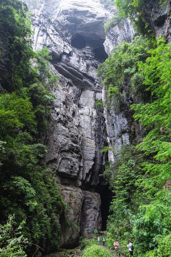 Drie Natuurlijke Bridges National Geopark Tian Keng San Qiao is een UNESCO-werelderfgoed van Wulong in Chongqing, China royalty-vrije stock foto's
