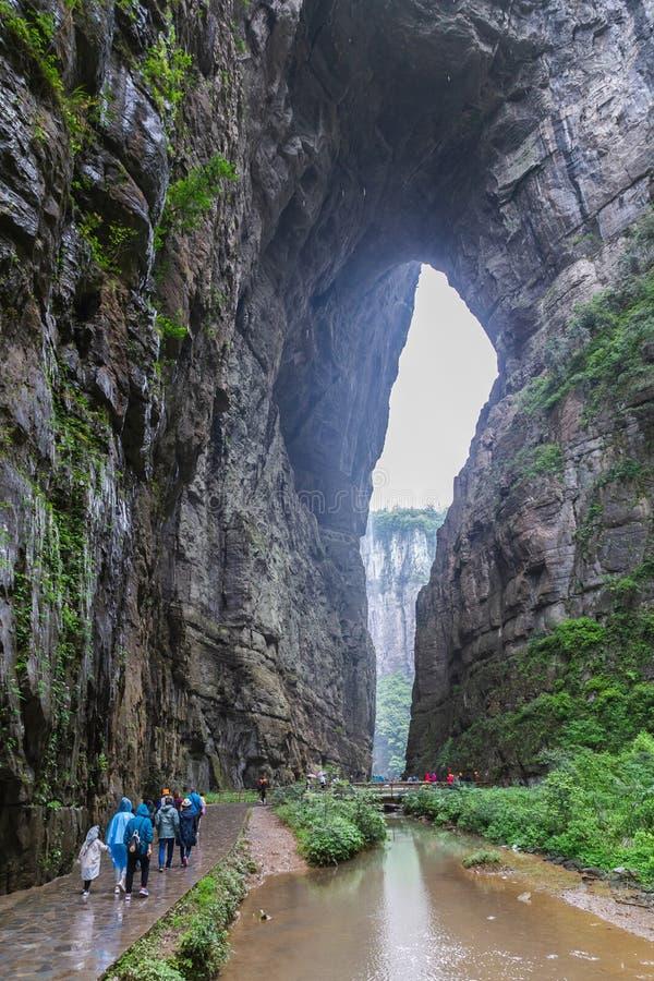 Drie Natuurlijke Bridges National Geopark Tian Keng San Qiao is een UNESCO-werelderfgoed van Wulong in Chongqing, China royalty-vrije stock fotografie