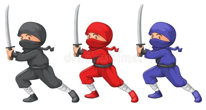 Drie ninjas stock illustratie
