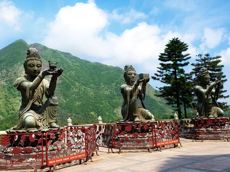 Drie Nirvana'smonumenten in Grote Boedha, Lan Tau Island, Hong Kong stock foto
