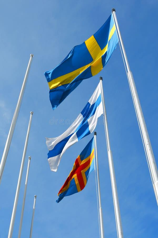 Drie noordse vlaggen royalty-vrije stock fotografie