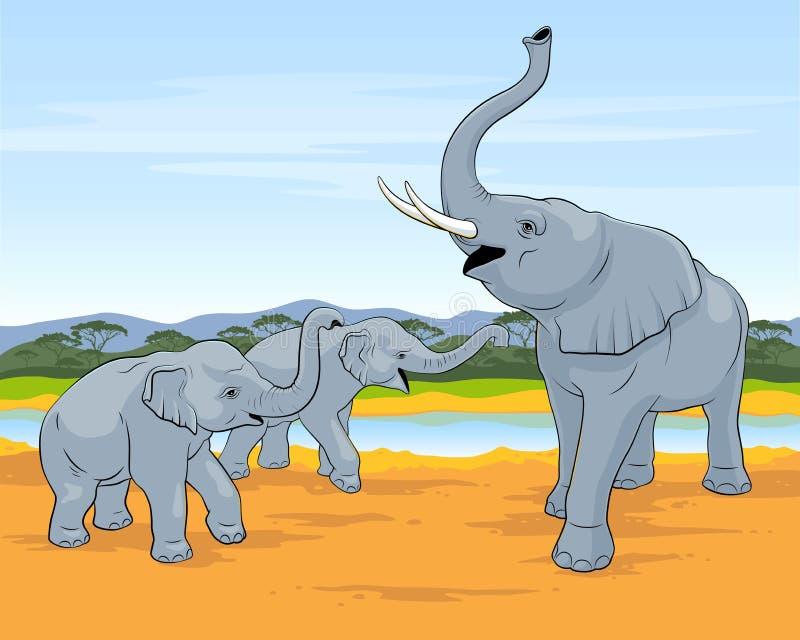 Drie olifanten De familie van olifanten loopt in savanne Grote olifant met twee kleine olifanten royalty-vrije illustratie