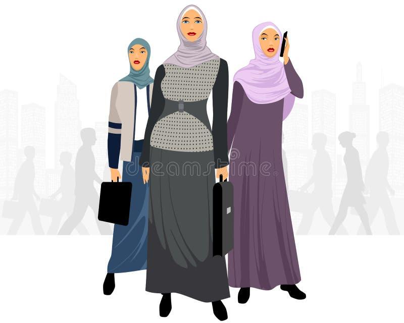 Drie onderneemsters in stad stock illustratie