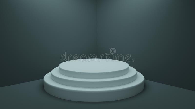 Drie opgevoerd leeg wit voetstuk in een studiohoek vector illustratie