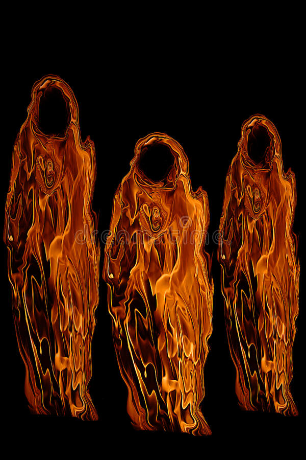 Drie Oranje Spoken of Lijkenetende geesten van Halloween vector illustratie