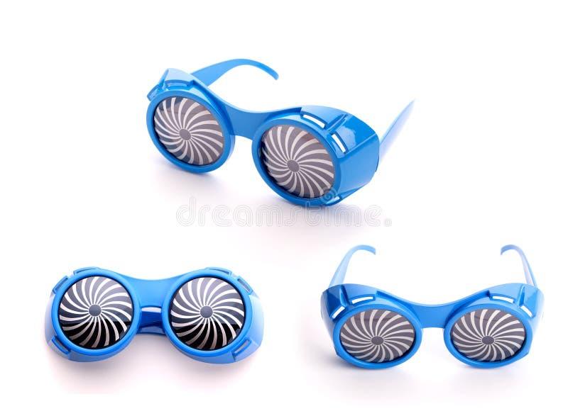 Drie paar blauwe glazen voor partij stock afbeeldingen